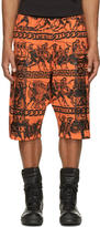 Kokon To Zai Orange and Black Jersey Greek Print Shorts