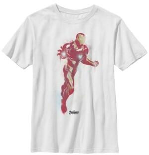 Fifth Sun Marvel Big Boy's Avengers Endgame Iron Man Spray Paint Short Sleeve T-Shirt