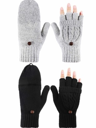Tatuo 2 Pairs Women Fingerless Mittens Winter Convertible Gloves Knitted Half Finger Gloves with Cover (Black Grey)
