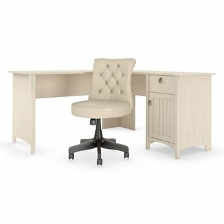 Three Posts Salina L-Shape Executive Desk and Chair Set Color: Antique White