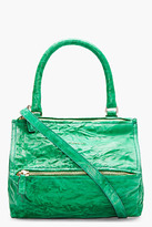 Givenchy Emerald green crinkled leather Small Pepe Pandora Shoulder Bag