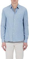 Barneys New York Men's Donegal-Effect Stretch-Cotton Shirt-LIGHT BLUE