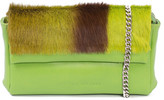 Sherene Melinda SHERENE MELINDA Lime Sophy Springbok Leather Clutch Bag With A Stripe