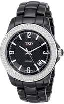 TKO ORLOGI Women's TK577-BK Genuine Ceramic Ice Crystallized Bezel Watch