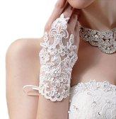 FTXJ Bride Wedding Party Fingerless Rhinestone Lace Satin Bridal Gloves