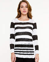 Le Château Sequin Stripe Scoop Neck Sweater