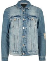 River Island Mens Big and Tall blue distressed denim jacket