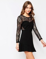 Wal G Skater Dress with Lace Sleeves