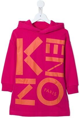 Kenzo Kids Logo Print Hooded Dress