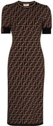 Fendi FF-print midi dress