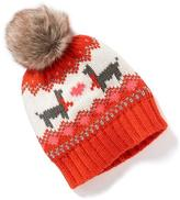 Old Navy Faux-Fur Pom-Pom Graphic Beanie for Toddler Girls