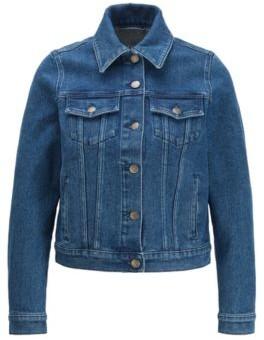 BOSS Regular-fit jacket in stretch denim with rear logo