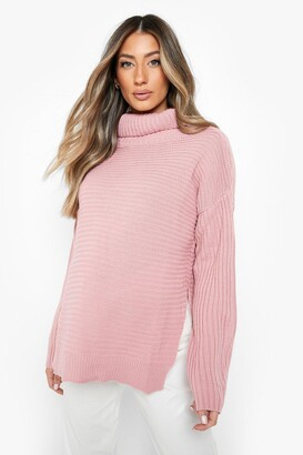 boohoo Maternity Roll Neck Sweater With Side Split