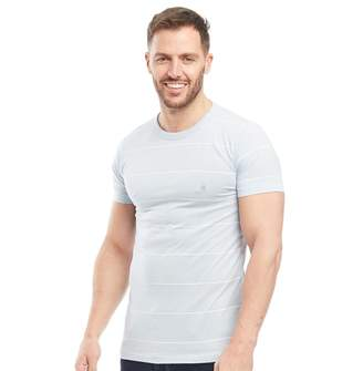 French Connection Mens Thin Stripe Print T-Shirt Sky Melange/White