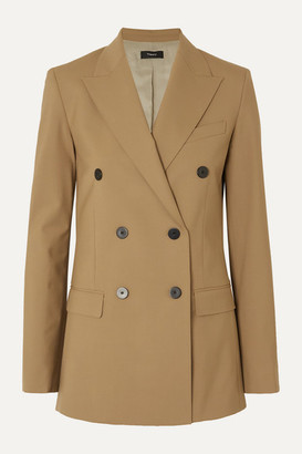 Theory Double-breasted Grain De Poudre Wool-blend Blazer - Camel