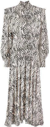 Isabel Marant Zebra Print Long-Sleeve Pleated Dress