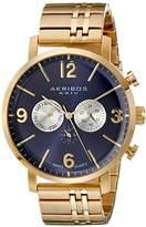 Akribos XXIV Men's AK782YGBU Multifunction Swiss Quartz Movement Watch with Navy Dial and Yellow Gold Stainless Steel Bracelet