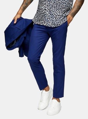 Topman Blue Skinny Fit Suit Trousers