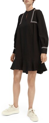 Scotch & Soda Folklore Embroidered Long Sleeve Minidress