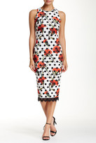 Alexia Admor Lace Hem Floral & Dot Scuba Dress