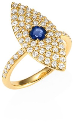 Anita Ko 18K Gold, Diamond & Sapphire Evil Eye Ring