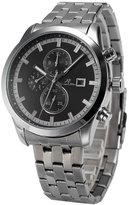 K&S KS Men's KS201 Analog Silver Steel Band Day Date Month Display Automatic Mechanical Watch