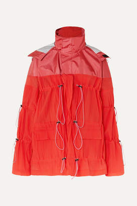Unravel Project Hooded Ruched Crinkled-shell Jacket - Red
