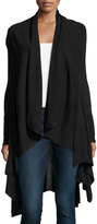 Neiman Marcus Long-Sleeve Draped Waterfall Cardigan, Black