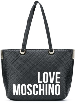 Love Moschino Quilted Logo-Print Tote
