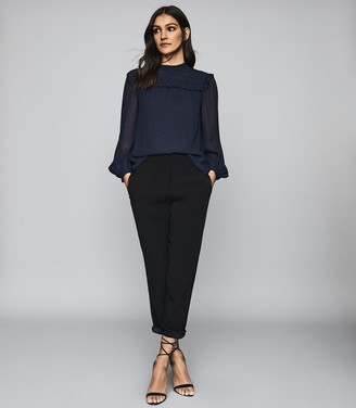 Reiss Anoushka - Semi Sheer Pleat Detailed Blouse in Navy
