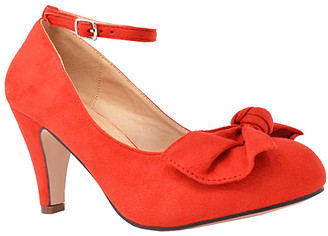 Chase & Chloe Women's Pumps RED - Red Bow Kimmy Ankle-Strap Pump - Women