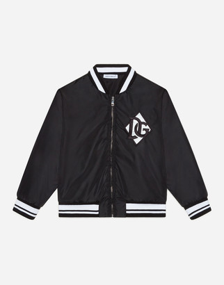 Dolce & Gabbana Nylon Bomber Jacket With Logo Patch