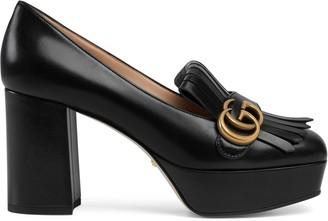 Gucci Leather platform pump with fringe