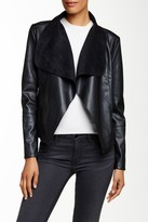 Bagatelle Faux Leather Drape Jacket