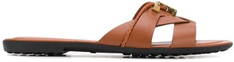 Tod's Logo Plaque Leather Sandals