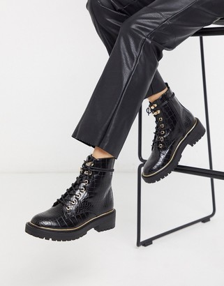 New Look chunky lace up flat boots in black croc