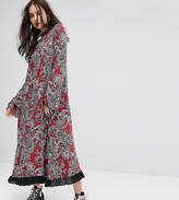 Reclaimed Vintage Inspired Flare Sleeve Maxi Dress With Studded Neck Trim