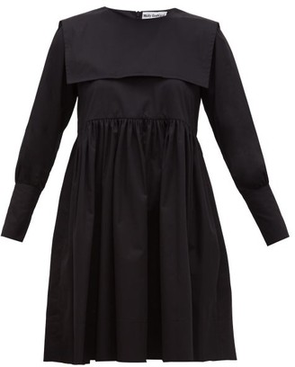 Molly Goddard Miranda Sailor Bib Cotton Twill Dress - Womens - Black