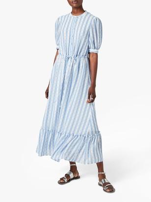 Jigsaw Drawstring Textured Maxi Dress, Soft Blue/Ivory