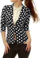 Allegra K Women Long Sleeve Polka Dot Blazers Suit Jacket XL