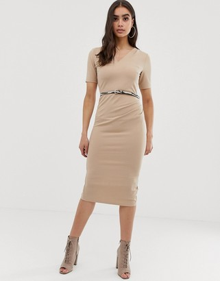 Asos Design DESIGN midi pencil dress with zebra belt-Beige