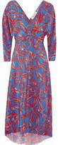 Diane von Furstenberg Asymmetric Printed Silk Crepe De Chine Midi Wrap Dress - Red