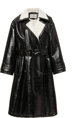 Stand Studio Erica Faux-Patent Belted Leather Coat