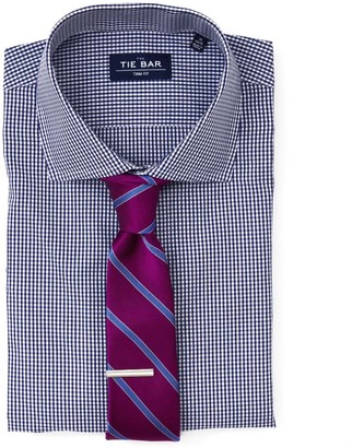 The Tie Bar Navy Petite Gingham Non-Iron Shirt