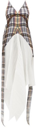 Burberry Handkerchief-hem Check Plisse Dress - Multi