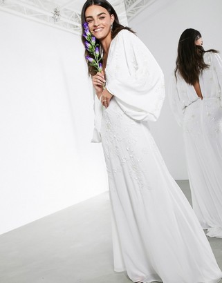 ASOS EDITION Lisa drape sleeve plunge wedding dress with floral embellishment