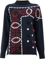 Sacai embellished border sweater