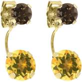 Gem Stone King 1.92 Ct Round Yellow Citrine Brown Smoky Quartz 14K Yellow Gold Earrings