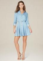 Bebe Lucy Chambray Godet Dress