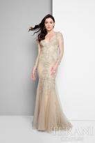Terani Evening - Long Sleeve Beaded Applique Mermaid Dress 1711M3407
